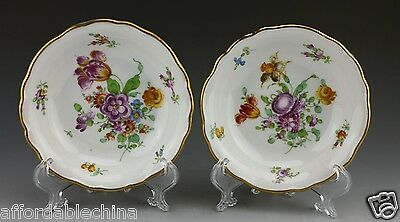 Antique Dresden Hand Painted Richard Wehsener Porcelain Berry Bowls - Set B