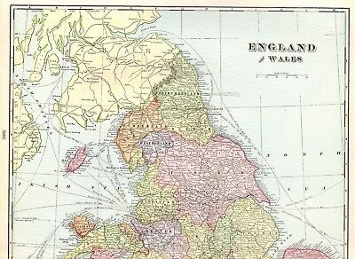 1904 Antique ENGLAND and WALES Map Original Vintage Map Of England