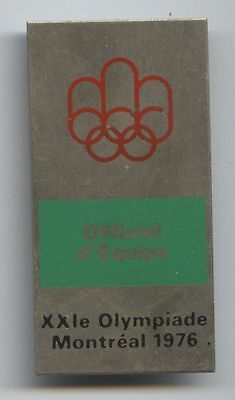 Orig.participant pin   Olympic Games MONTREAL 1976 // Officiel d`Équipe ! RARITY
