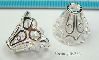 2x STERLING SILVER BRIGHT FLOWER BEAD CAP CONE SPACER 12mm #1238