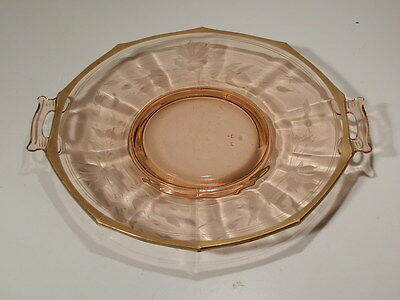 PINK DEPRESSION ERA GLASS 2 HANDLED TRAY/CAKE PLATE W CUTTING AND GOLD TRIM