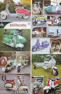 """Lambretta Scooters Poster """"collage Of 12 Classic Models"""" - Italian Motorbikes"""