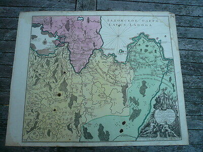 Lake Ladoga, anno 1760, Lotter T.C., map, old coloured