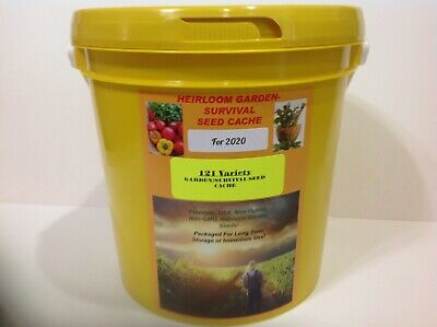 121 Heirloom Varieties! Non-GMO GARDEN/SURVIVAL SEED CACHE WITH $15 HERB PACK