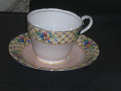 AYNSLEY FLORAL PINK / PEACH SAUCER TEACUP AND SAUCER