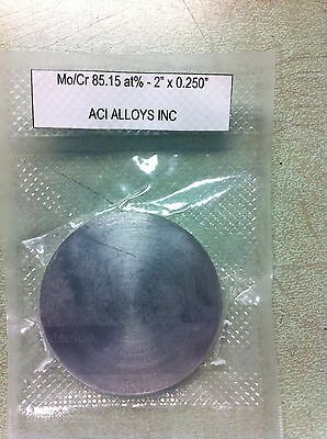 "Moly Chrome sputter target: Mo/Cr 85:15 at%, 2.00"" dia x 0.25"" thick, 99.9% pure"
