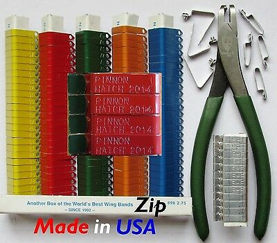USA 300 pcs. STAMPED ZIP Aluminum Wing Bands Bird Chicken Pheasant Poultry Duck