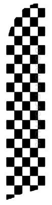 CHECKERED Black White Racing Swooper Banner Feather Tall Curved Top Bow Flag