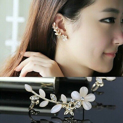 Fashion Flower Shape Rhinestone Left Ear Cuff Clip Golden Earring Stud C448-1