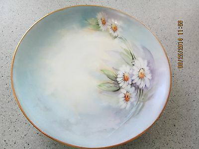 """SELB  CHINA PLATE WHITE 6 1/8""""  HAND PAINTED DAISIES HUTSCHENREUTHER BAVARIA"""