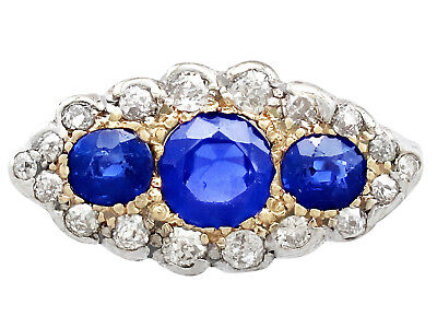 Antique 1.48 ct Sapphire and 1.04 ct Diamond, 18k Yellow Gold Dress Ring