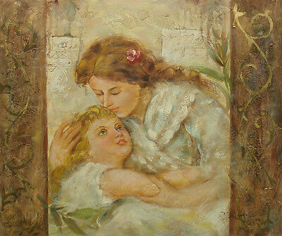 "Oil Painting of Portrait Mother Holding and Kissing Child in Arms 20x24"" Canvas"