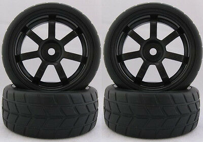 4PCS RC 1/10 Soft Rubber  Tires Tyres Wheel Rim For On Road Car 22031B
