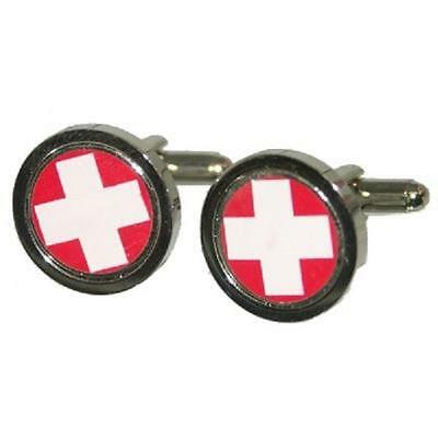 Swiss Flag First Aid Red & White Cross Cufflinks X2PSC054