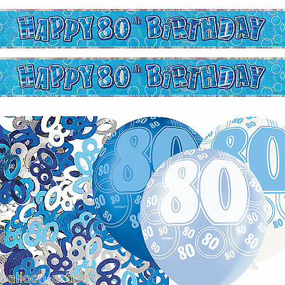 Blue Silver Glitz 80th Birthday Banner Balloon Party Decoration Pack Kit