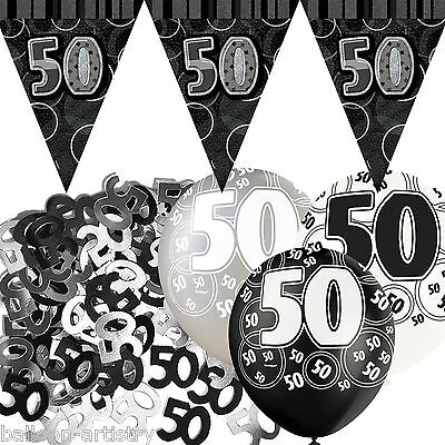 Black Silver Glitz 50th Birthday Flag Banner Party Decoration Pack Kit Set