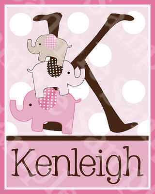 "Personalized ""Stacked Elephants with Dots""  8x10 Art Print So Cute!!"