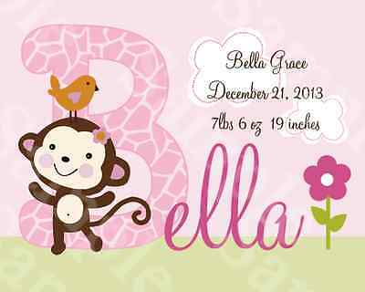 "Personalized ""Jungle Jill Monkey Girl"" 8x10 Art Print Keepsake So Cute!!"