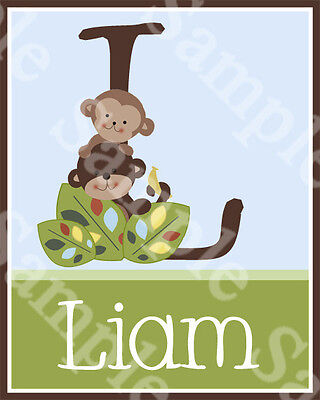 "Personalized ""Curly Tails Monkeys""  8x10 Art Print So Cute!!"