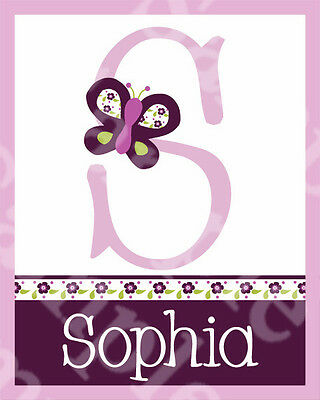 "Personalized ""Sugar Plum Butterfly and Flowers"" 8x10 Art Print So Cute!"
