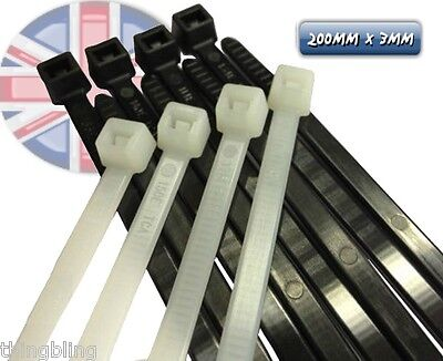 Cable Ties - 200mm x 3mm  Black or White - Choose Pack Size  - UK Seller