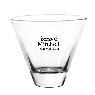 48 Personalized Stemless Martini Glasses Wedding Event Favors - great for Patios