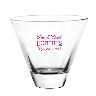 144 Personalized Stemless Martini Glasses Wedding Event Favors -great for Patios