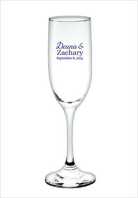96 Personalized Champagne Flute Glasses Wedding Event Favors - great for Patios