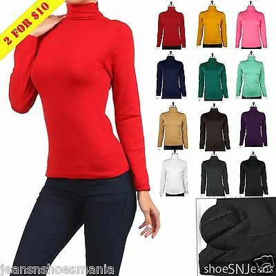 New Basic Long Sleeve Soft Seamless Stretch Turtle High Neck Top Fleece Shirts