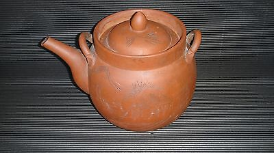 Antique Yixing Clay Chinese Teapot and Lid Pottery Terracotta REDWARE Signed