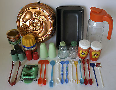 BULK LOT Vintage Retro 60s/70s ASSORTED KITCHENALIA Willow Tins/Tang Glass Jar