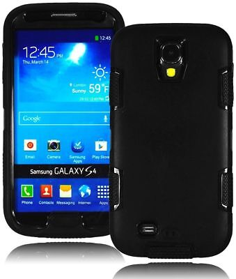 Hybrid Black Hard Case Cover+Black Silicone Shell For Samsung Galaxy S4, i9500