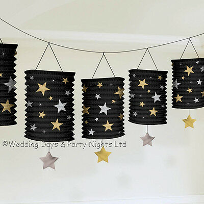 12ft Paper Lanterns Garland Hollywood Party Decorations Black Gold New Years Eve