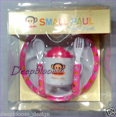 Small Paul Frank Feeding Set 4 Pcs Plate Fork Spoon Cup Baby Girls Pink New