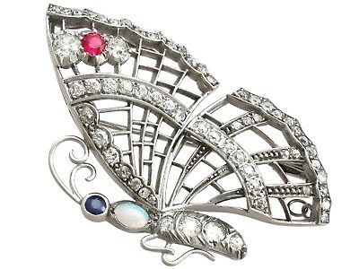 Vintage 3.5 Ct Diamond Opal Ruby and Sapphire White Gold Butterfly Brooch