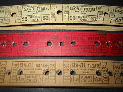 150 Old CLA-ZEL Movie THEATRE Tickets Bowling Green OH.