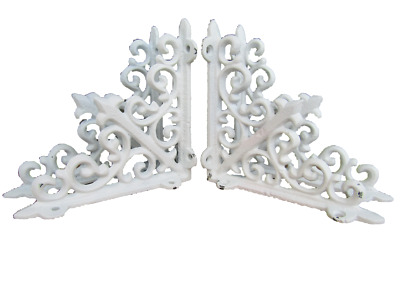 Lot 4 Antique-Style WHITE Cast Iron 5.5 x 5.5 Shelf SHELVING BRACKETS Braces