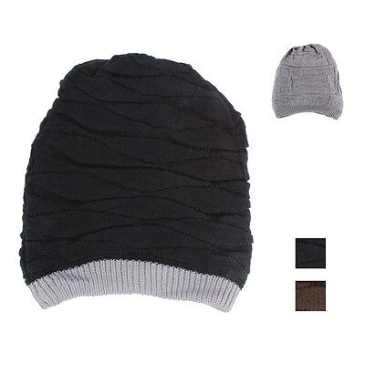 83213a0711a Mens Womens Baggy Knit Beanie Reversible Dual Layer Winter Hat Ski Cap  Skull BL