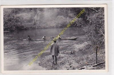 RPPC carte photo MADAGASCAR animé pirogue sur fleuve  n25