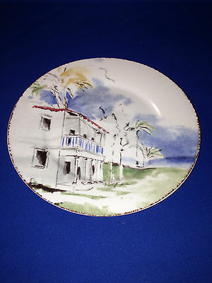 PIER 1 DESTINATION SALAD/DESSERT PLATE HOUSE WITH RED ROOF PALM TREES BLUE SKY