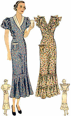 #T1889 - 1930s Ladies Hooverette Day Dress Sewing Pattern - Retro Glamour