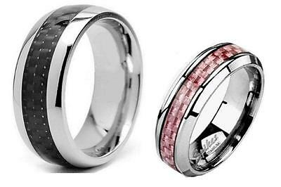 2 Pc His & Hers Pink Black Titanium Carbon Fiber Wedding Band Ring Set