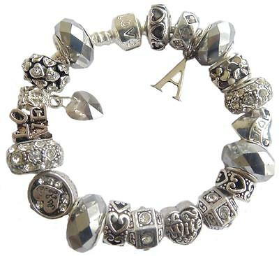 LADIES CHARM BRACELET WIFE ~ MY LOVE SILVER & CLEAR ANY INITIAL GIFT BOXED