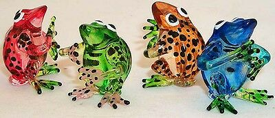 FROG hand-made ARTGLASS FIGURINES Choir Group of colored 4 pc. lot