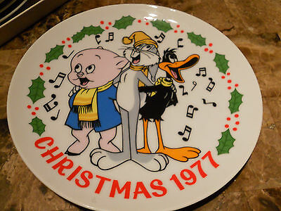 Looney Tunes Christmas Plate 1977 Bugs Bunny, Daffy Duck & Porky Pig Excellent