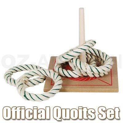 Regent Official 6 Quoits Set Rope Ring Toss / Wooden Base Kids Toys Sports Fun
