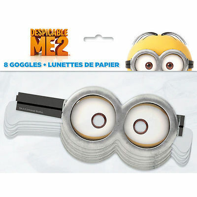 Despicable Me 2 Minions Party Supplies 8 Paper Googles Mask