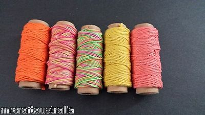 Hemp Cord Twine 100% NATURAL Wrap 6 Mixed Spools 54 metres in Total Variegated