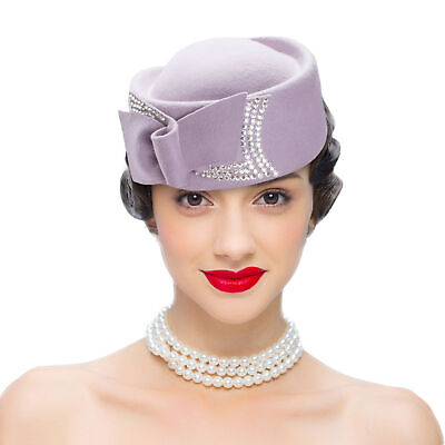 A254 Ladies Gatsby Style Teardrop Wool  Fascinator Cocktail Pillbox Race Hat
