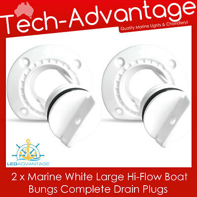 2 X White Large Uv-Resistant Boat Marine Grade Hi-Flow Boat Bung Bungs & Base